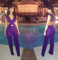 New 2014 Backless Bandage Dress Sexy Women Night Club V Neck Party Dresses White/Black/Purple Free Shipping#4692