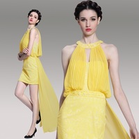 2014 New Arrival Women Sexy Yellow Lace Sheath Front Short Back Long Prom Dress elegant Cocktail Dresses For Wedding Party 6090
