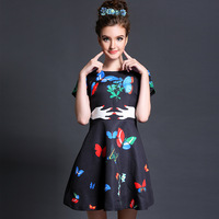 FREE SHIPPING summer 2014 new women high-end printing stitching dresses Cartoon Printed dress Plus Size breathable S-5XL