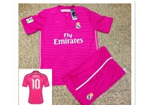 James Rodriguez #10  Real Madrid 14 15 AWAY pink  kids and youth soccer jersey Kids kits .2014 2015