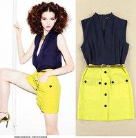 Ladies summer OL temperament Slim chiffon sleeveless dresses package hip casual women summer dress 2014, free shipping # 4841