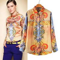 CS0376 Fall 2014 new European style vintage totem print long-sleeved Slim thin wild ladies shirt