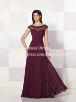 2014 Free Shipping Burgundy See through Sheer Beach Mother Dress Long vestido mae da noiva ZF571
