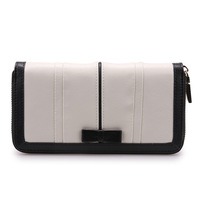 Free Shipping Fashion Genuine Leather Wallet for Women Black White Bow Cowhide Purse Small Bag 16