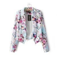 2014 New Fashion Ladies' elegant Floral print blazer office lady outwear casual slim brand designer topsJ778