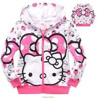 2014 kids girls hoodies,fashion autumn hello kitty character hooded sweatshirts,children hoody jacket retail for 3T - 8 years
