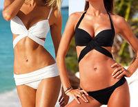 New 2014 Sexy Women Bikini Set Bandage Swimwear Push-up Padded Bra To 2 colors Black White BK001