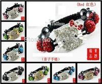 wholesale Free Shipping micro pave cz Disco 10mm Beads Crystal boy/girl gift Shamballa Bracelet Children kids Jewelry