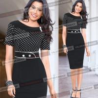 Fashion Women Restore OL Slim Dot Lapel Dress Long Sleeve Chiffon Dress free shipping Work Clothes vestidos New 2014