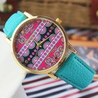 7 colors New Fashion Leather GENEVA Wristwatch for Classics women dress watches quartz watch clock Relogio