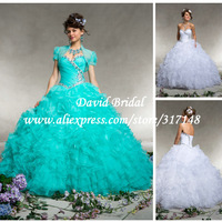 Formal Luxury Beading Sweetheart Organza Ruffle Mint Quinceanera Dress 2014 Ball Gown Beaded Prom Dress QZ584
