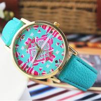 2014  New Fashion Leather GENEVA Wristwatch ,  women dress watches quartz watch clock Relogio