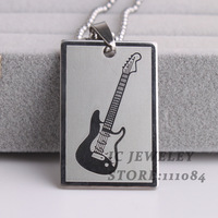 Square tag Guitar  pendant necklaces bead chain men women 316L Stainless Steel necklace wholesale Free shipping