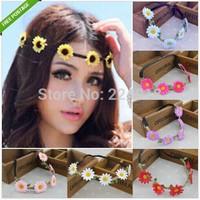 10 PCS Daisy Headband Hairband Elastic Multicolor Flower Floral Hair Garland Festival Wedding