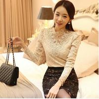 Fashion women long sleeve blouse Crochet Blouse Lace Chiffon Shirt Women Clothing Basic Shirt Vintage Blouses & Shirts