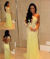 Sexy See Through Lace Prom Evening Dresses 2015 Brazil Style Vestidos Formales New Arrival