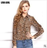 Korean version was thin loose leopard print long-sleeved chiffon shirt collar big yards