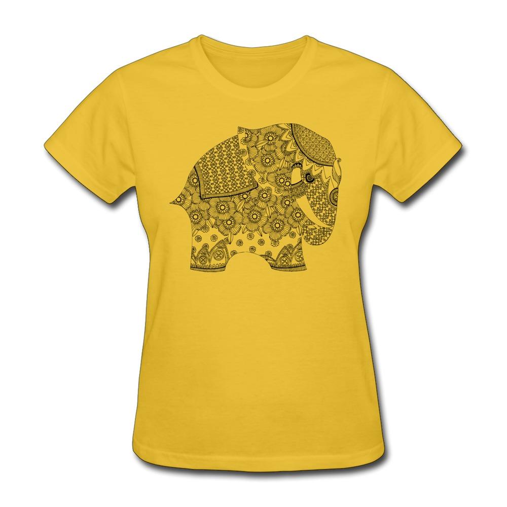 Solid T Shirt Womens ORNATE ELEPHANT Customize Classic Text Women T Shirts 2014 Style(China (Mainland))