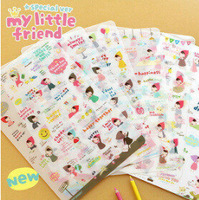 6sheets/lot DIY Cute Red Girl Sticker Paper Ponybrown Stickers for Scrapbooking Diary Decor