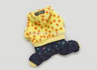 2014  New Arrived Corals Velvet Stars Jean Doggie Four Legs Suit Dog Jumper Pet Clothing