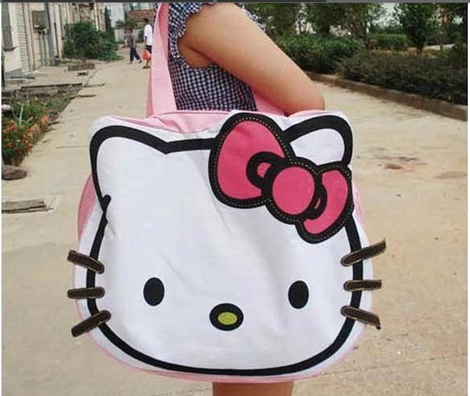 new arrival cartoon canvas handbags shoulder bag hello kitty big Shopping tote bag ,freeshipping(China (Mainland))