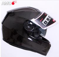 Free shipping,Genuine carbon fiber AMU dual lens motorcycle helmet motorcycle helmet helmet full helmet run, capacete