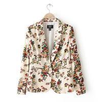 J971 new Women's autumn fashion print long-sleeve suit collar blazer outwear