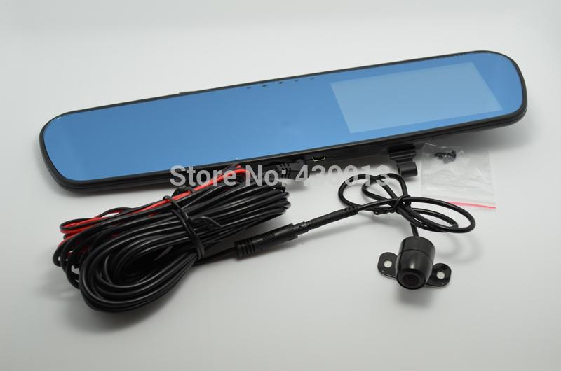 "Free Shipping 4.3"" Full HD1080P Rearview Mirror Dual Lens Car Dvr Parking Back Up DVR G-sensor H.264 External GPS Blue Mirror(China (Mainland))"