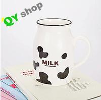 Wholesale zakka cup milk jugs creative color spots smiley mug milk cup glass ceramic bottles