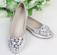 2014 Womans Fashion Cute Princess Girls Crystal Rhinestone Women's Flat Pointed Toe Slip on Ballet Flats Shoes Size:35-40