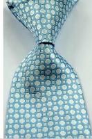 New Classic Checks Turquoise Blue JACQUARD WOVEN Silk Men's Tie Necktie #011