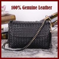 Genuine Leather Women Bags Hand Woven Cow Skin Women Shoulder Bags Chain Hot Sale Women Leather handbags