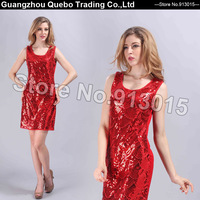 2014 Hot sale Sleeveless paillette Women Brand New Dresses Ladies Elegant Sequined Beading Evening Party Tank Casual Red QBD205