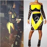 Europe and the United States explosion color gauze dress sexy nightclub bandage dress ZC1477 mini bodycon dress