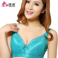 Hot Selling Summer Thin Section Embroidery Lace Underwear Large Size Bra Adjustable Push up Bra Mesh Edging 42 44 Free Shipping