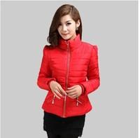 L-3XL 2014 Women Cotton-padded jacket  short design slim wadded jacket female winter outerwear plus size Down & Parkas
