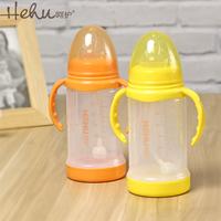 Sttend glass baby bottles suckpipe wide-mouth anti-hot belt grip newborn baby wide-mouth bottle feeding