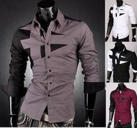 Free Shipping+ 2014 New Mens Shirt+ Men's Casual Slim Fit Stylish Hot Dress Shirts ,long sleeve ,4 colors,PLUS Size,S-M81