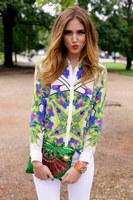 Free shipping 2014 new Women Vintage Prints Off-shoulder Chiffon Shirts Ladies Fashion Blouse C15