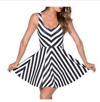 2014 New summer women Black and white striped Sleeveless Dress Casual  tank roupas femininas vestido festa renda de festa mujer