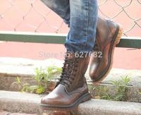 Retro Winter Boots Snow-style Fashion Riding Men Boots Men's Shoes Labor Rubber Boots Bota Genuine Leather Brown Hunt Labor
