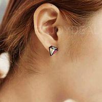 Cute Colorful Diamond Shaped Earrings Ear Accessories Womens Ear Studs #D2