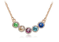 Free Shipping hot sell New style elegant Rose Gold cluster round crystal Necklaces,4pcs/lot