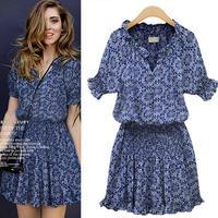 2014 Fashion Spring and Autumn one-piece dress short-sleeve slim waist  blue print gentlewomen V-neck dress 952