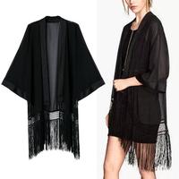 2014 New Summer Women's Stylish Black Color Loose Kimono Cardigan Long Tassels Shirts No Button Thin Long Blouses Sunscreen Tops
