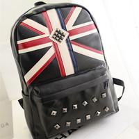 Free shipping factory direct 2014 men's rivets Britain flag satchel bags school bag backpacks for both men and women