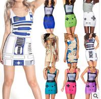 10 color Europe and America New 2014 Summer Print Dress vintage Sleeveless O- neck Casual vestido festa estampado de festa renda