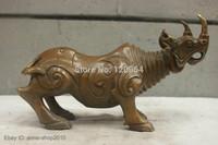 Chinese China Folk Culture Handmade Old Brass Bronze Statue Rhinoceros Sculpture  Tibetan crafts gift Copper Bronze Statue