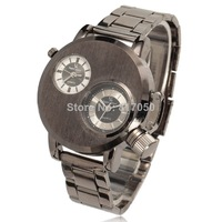2014 new fashion sport men dual dial clock full steel stainless army watch v6 brand wristwatches black 4137