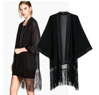 Brand New 2015 Fashion Women's Brief Black Color Tassel kimono Stylish Middle-long design Cardigan Blouse Blouses Jacket SML
